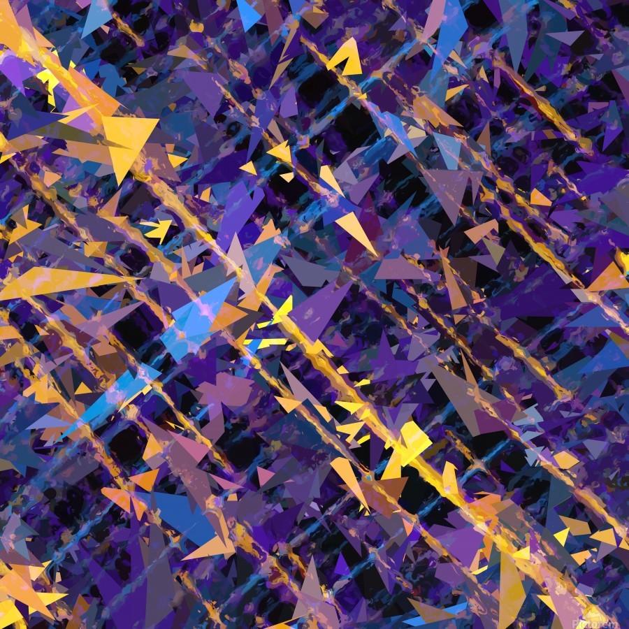 splash geometric triangle pattern abstract background in blue purple yellow  Print