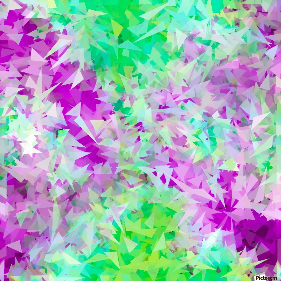 psychedelic geometric triangle abstract pattern in purple and green  Print