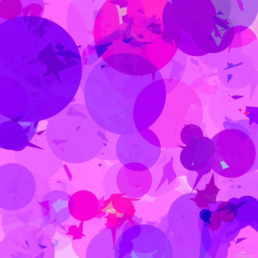 geometric circle and triangle pattern abstract in pink purple  Print