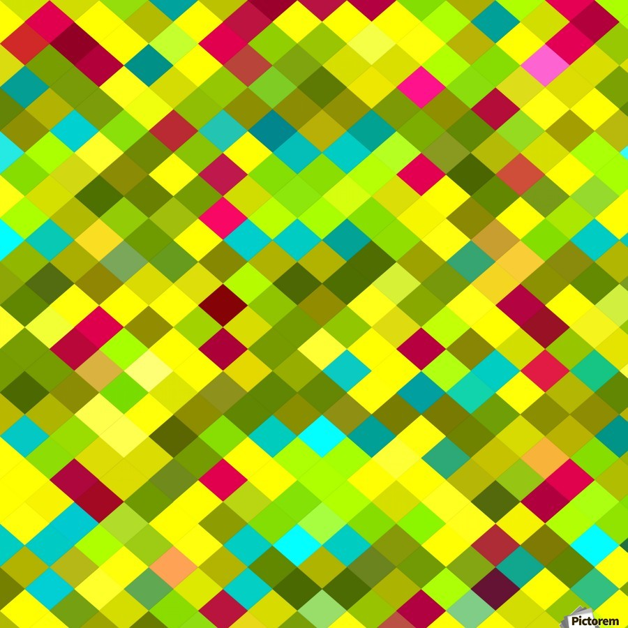 geometric square pixel pattern abstract in yellow red green blue  Print