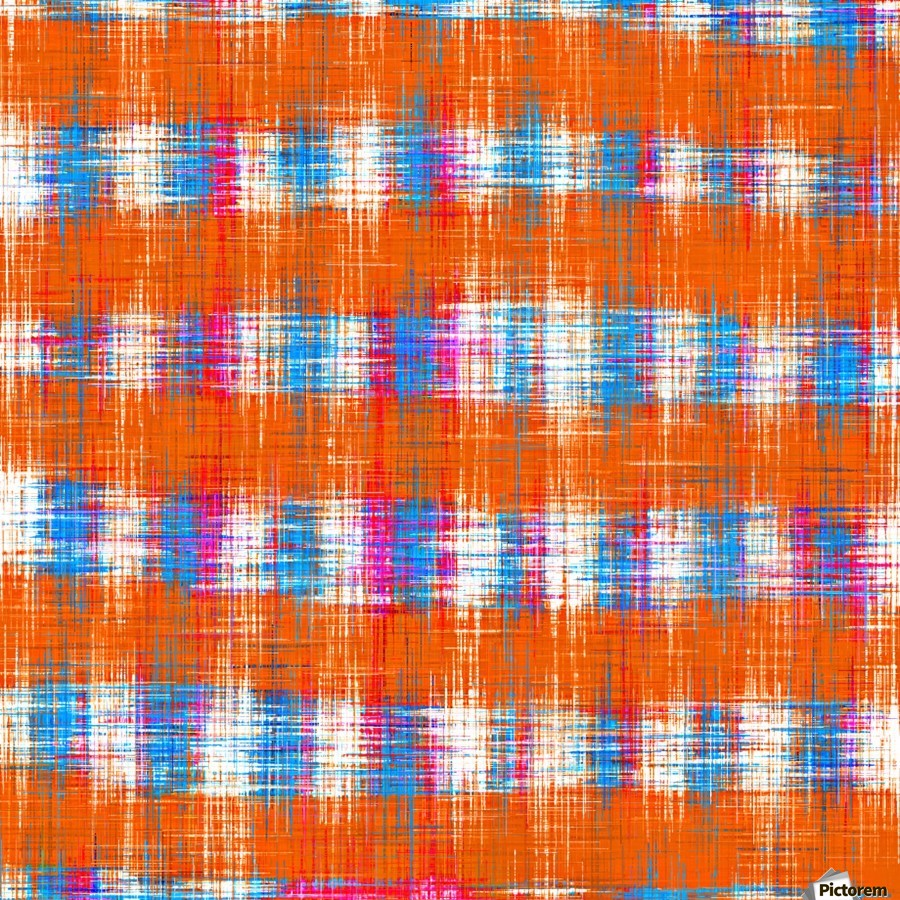 plaid pattern abstract texture in orange blue pink  Print