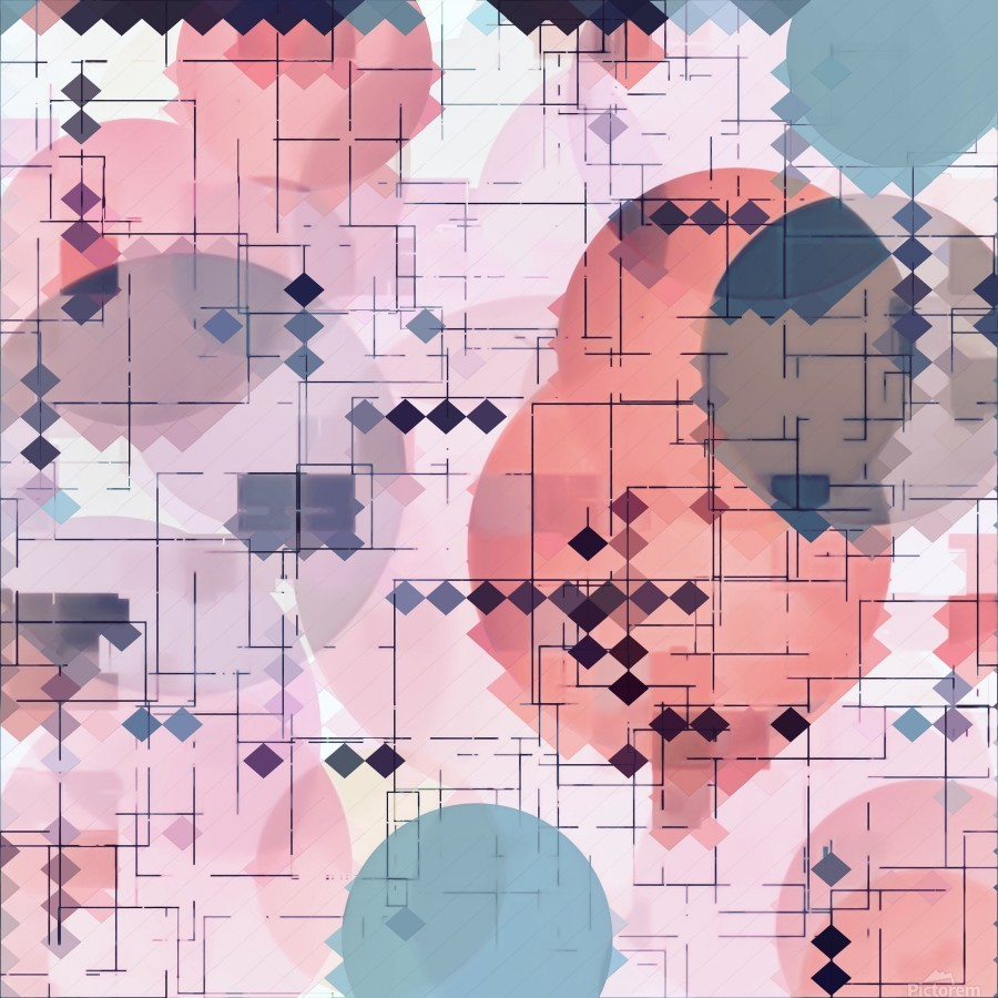geometric square pixel pattern abstract with circle pattern background in red pink blue  Print