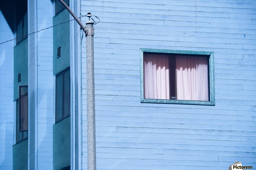 vintage blue wood building with window and electric pole  Print