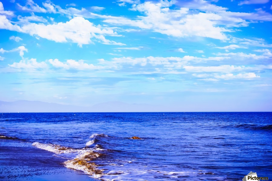 blue ocean view with blue cloudy sky in summer  Print