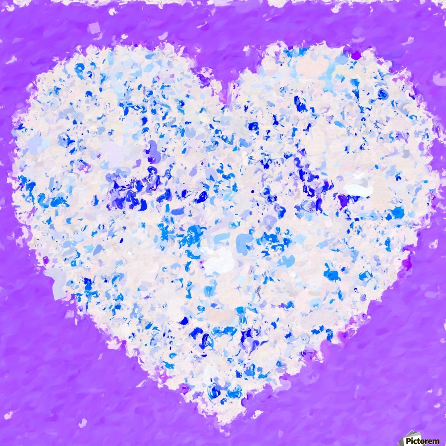 blue and white heart shape with purple background  Print