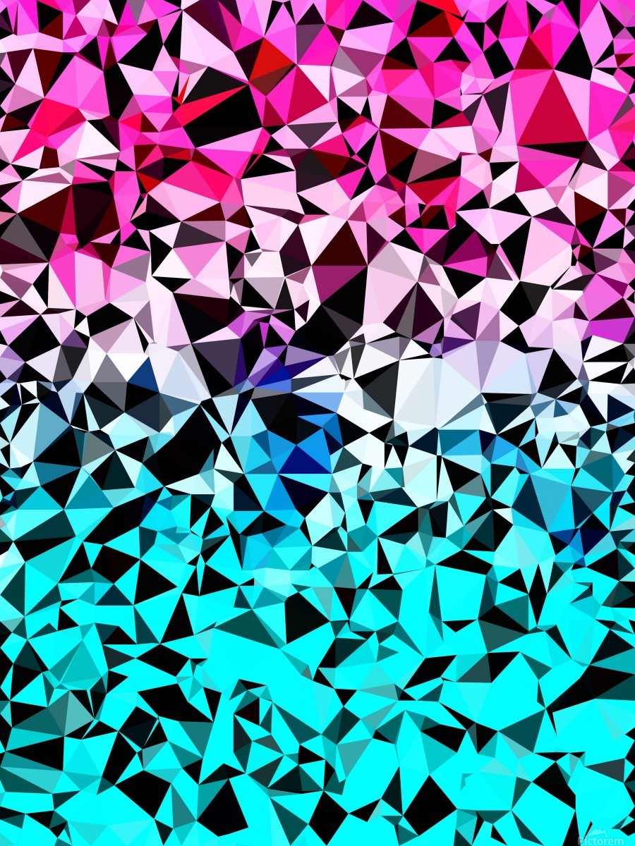 geometric triangle pattern abstract in pink blue black  Print