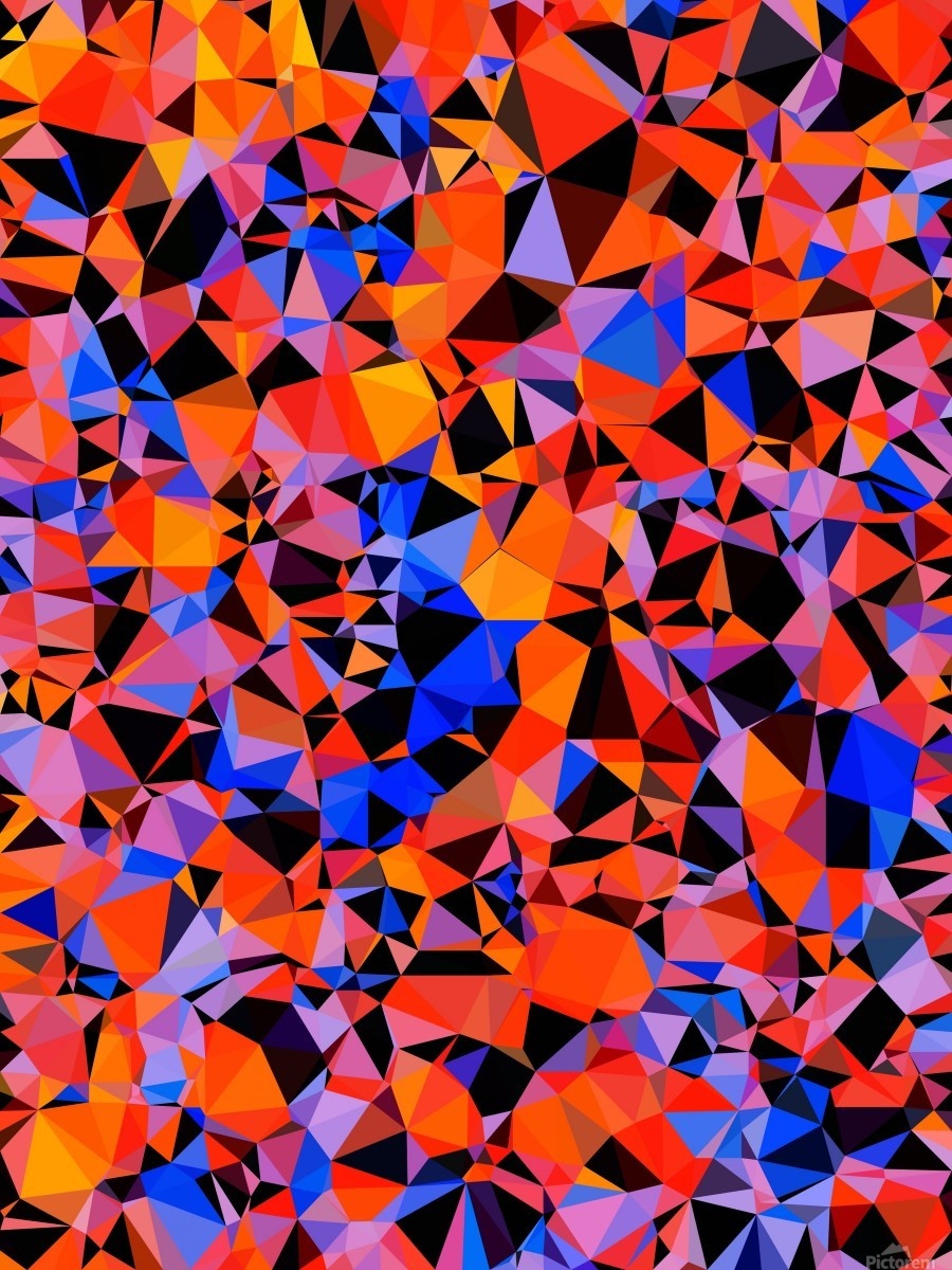 geometric triangle pattern abstract in blue orange red  Print