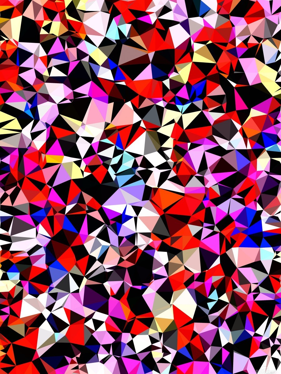 geometric triangle pattern abstract in red pink black blue  Print