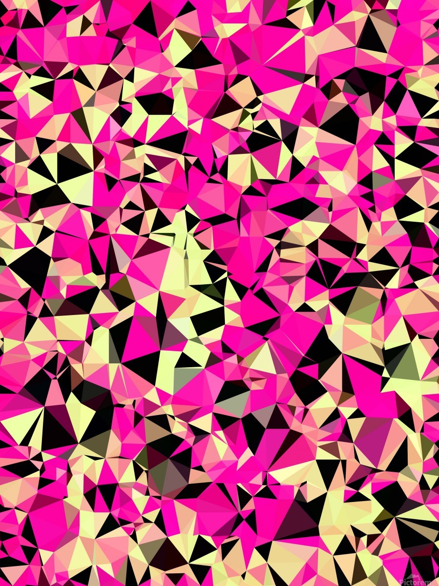 geometric triangle pattern abstract in pink and black  Print