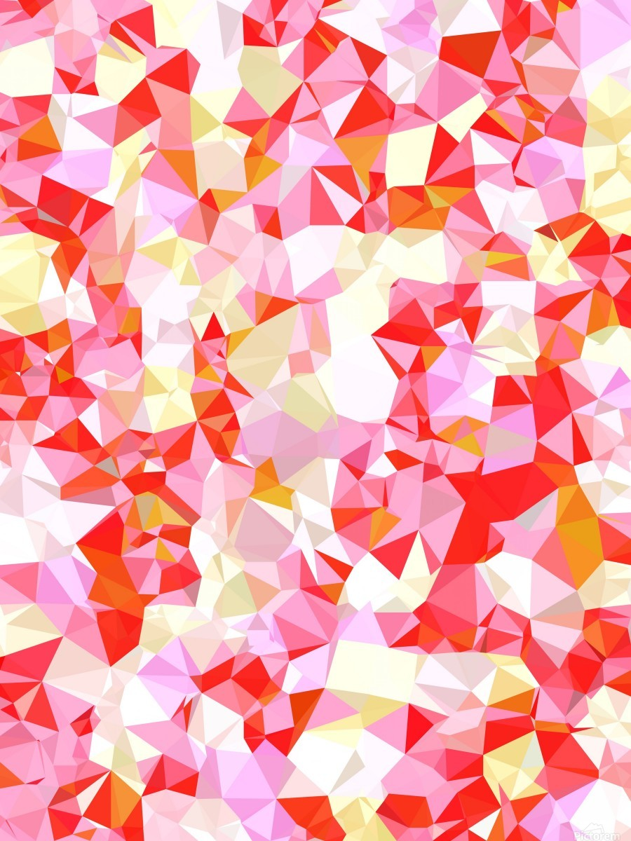 geometric triangle pattern abstract in pink red orange  Print