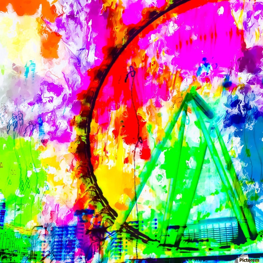 ferris wheel in the city at Las Vegas, USA with colorful painting abstract background  Print