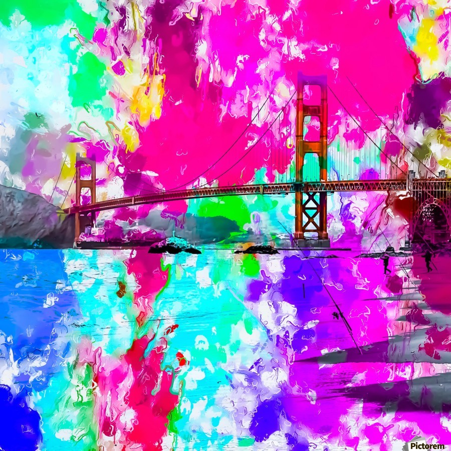 Golden Gate bridge, San Francisco, USA with pink blue green purple painting abstract background  Print