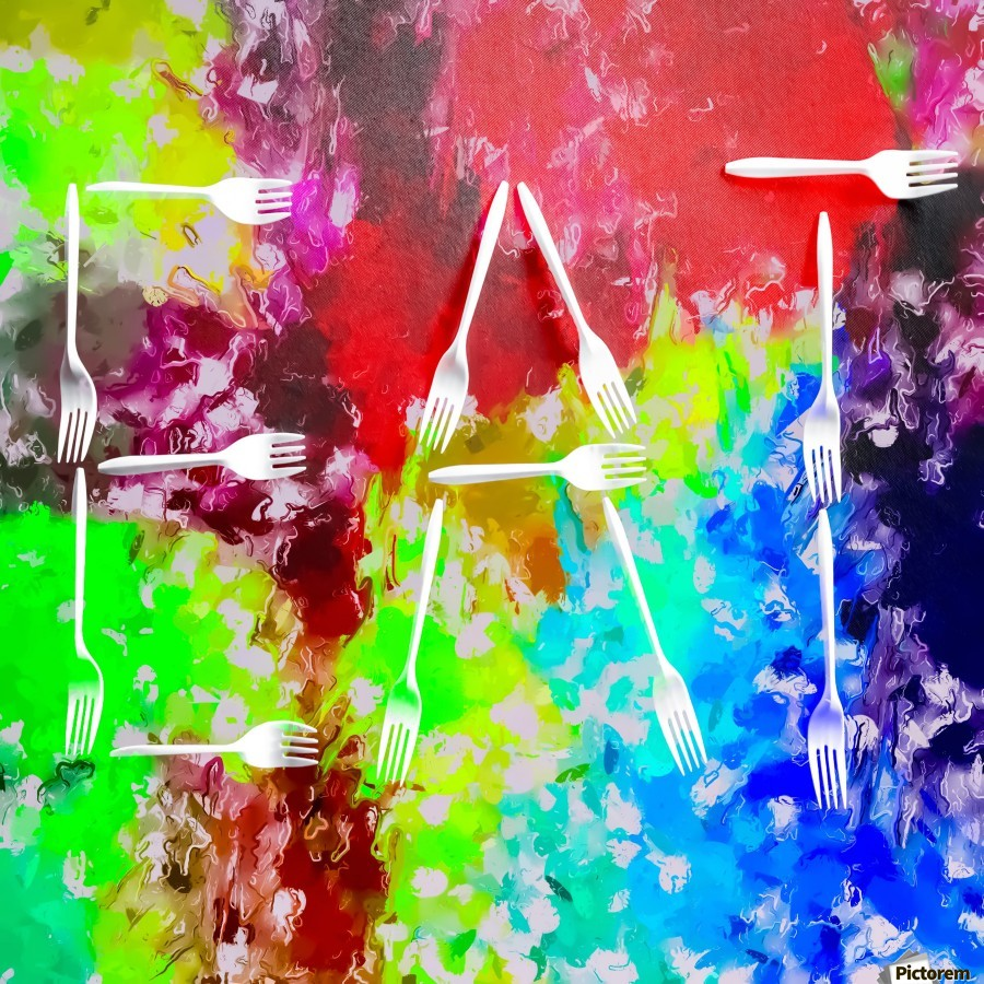 EAT alphabet by fork with colorful painting abstract background  Print
