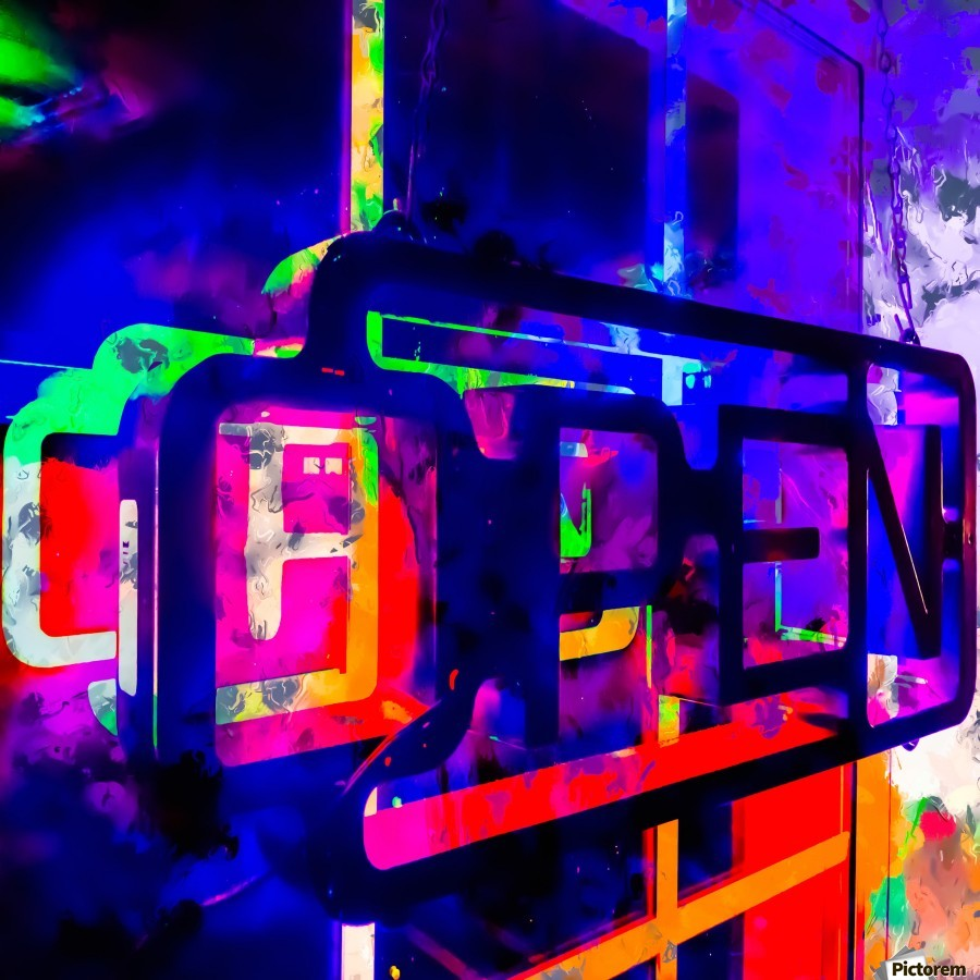 OPEN neon sign with pink purple red and blue painting abstract background  Print