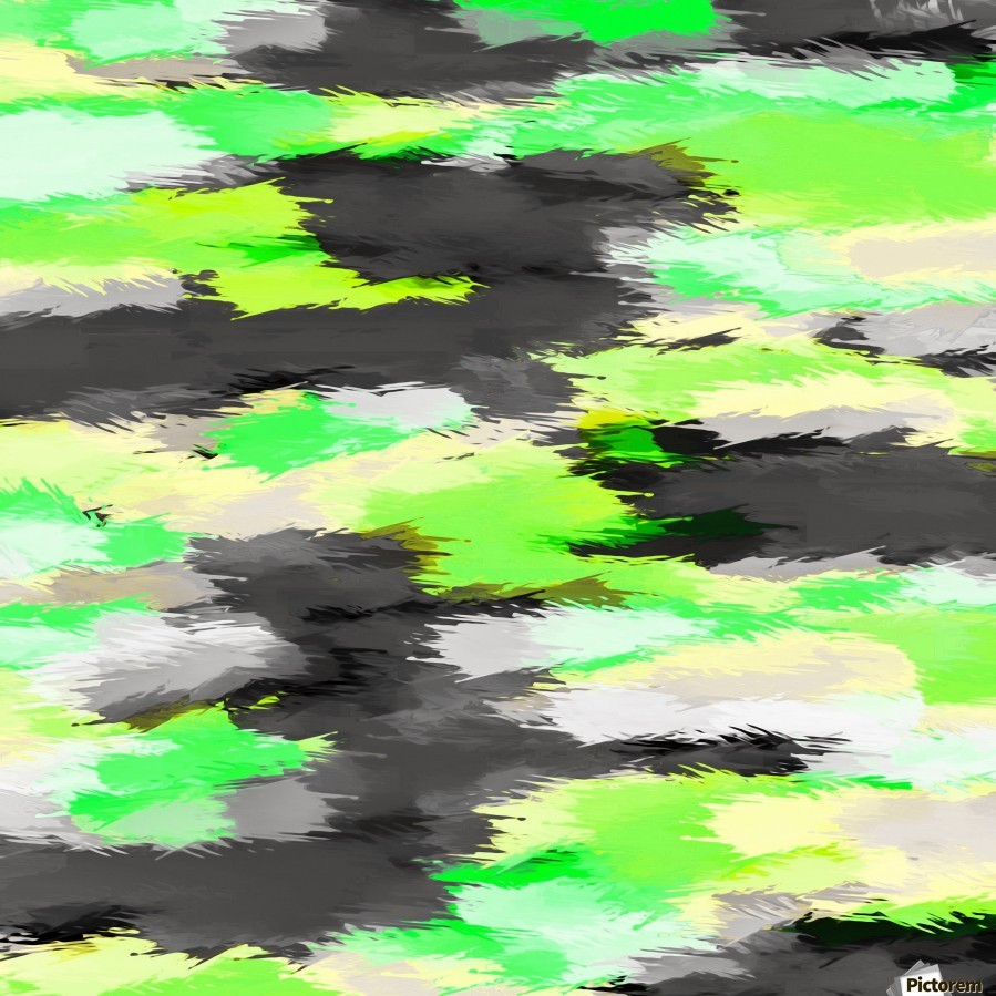 psychedelic camouflage splash painting abstract in green yellow and black  Print