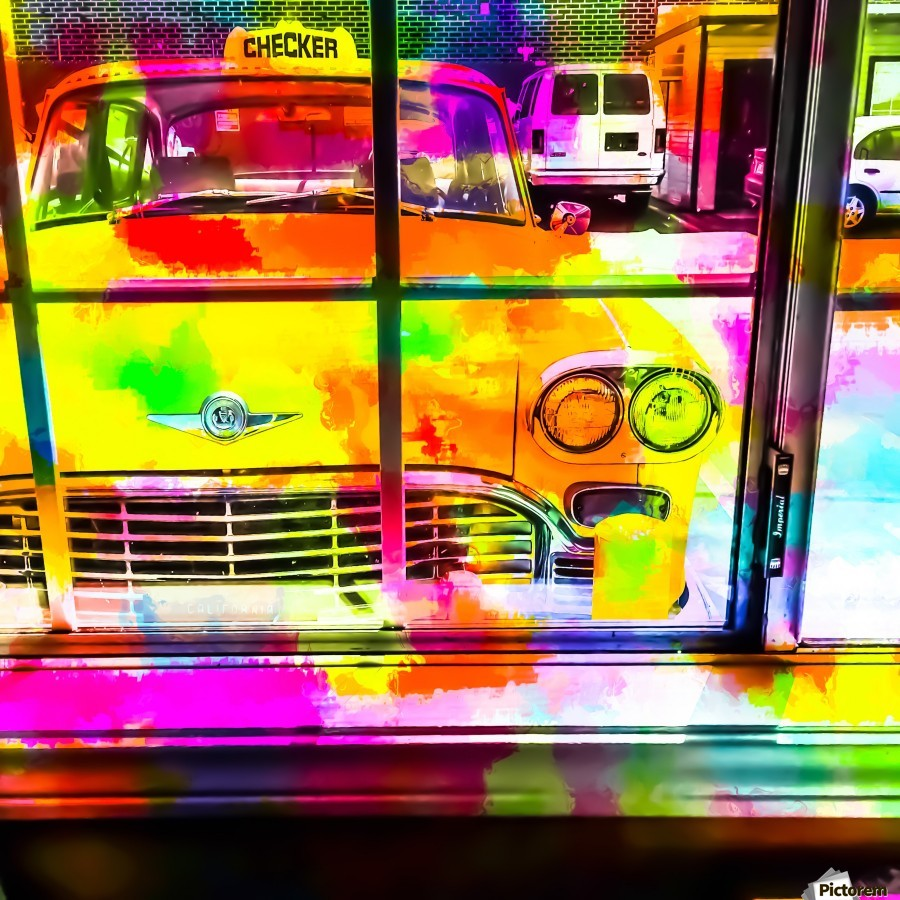 yellow classic taxi car with colorful painting abstract in pink orange green  Print