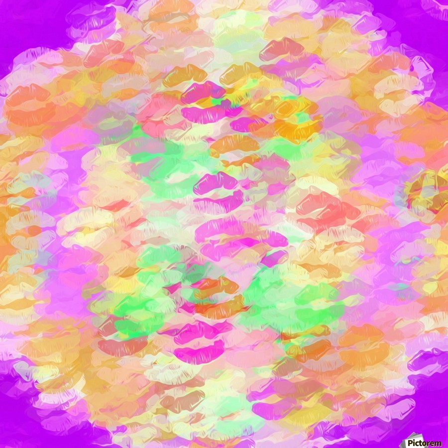sexy kiss lipstick abstract pattern in pink orange yellow green  Print