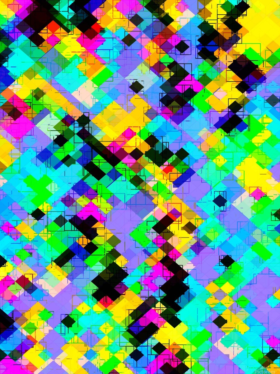 geometric square pixel pattern abstract in blue green yellow pink  Print