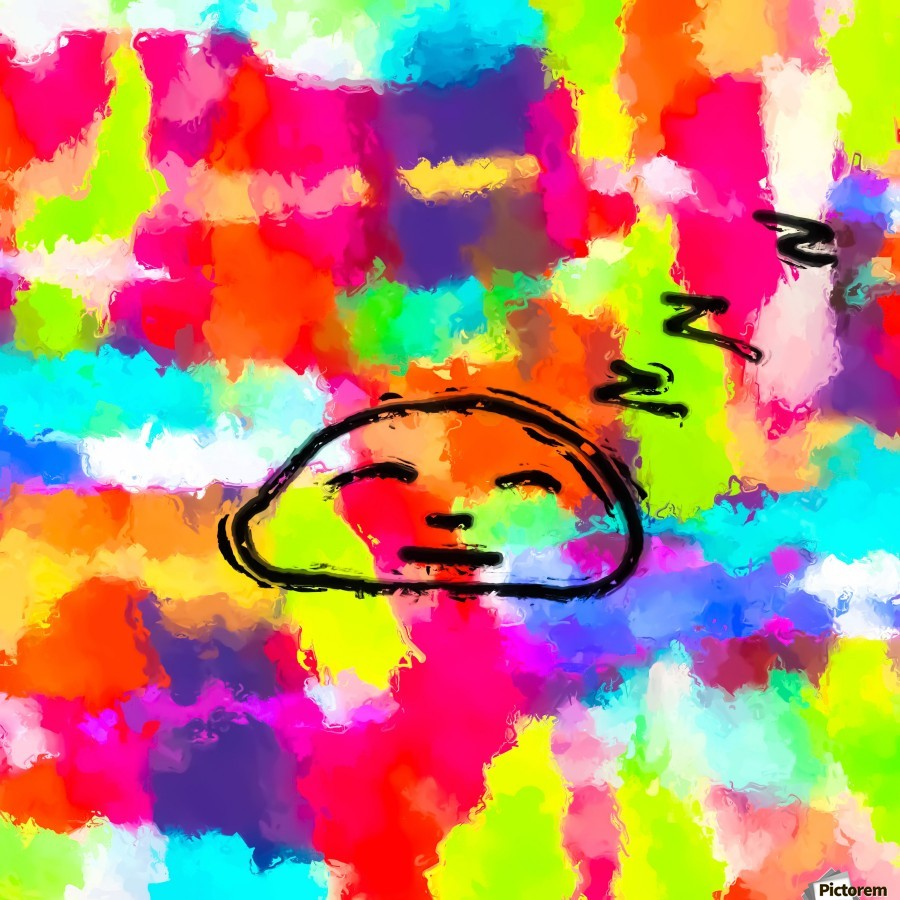 sleeping cartoon face with painting abstract background in red pink yellow blue orange  Print