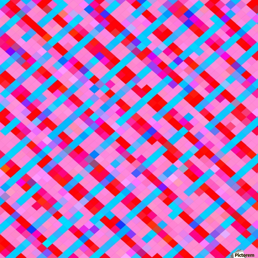 geometric pixel square pattern abstract background in pink blue red  Print