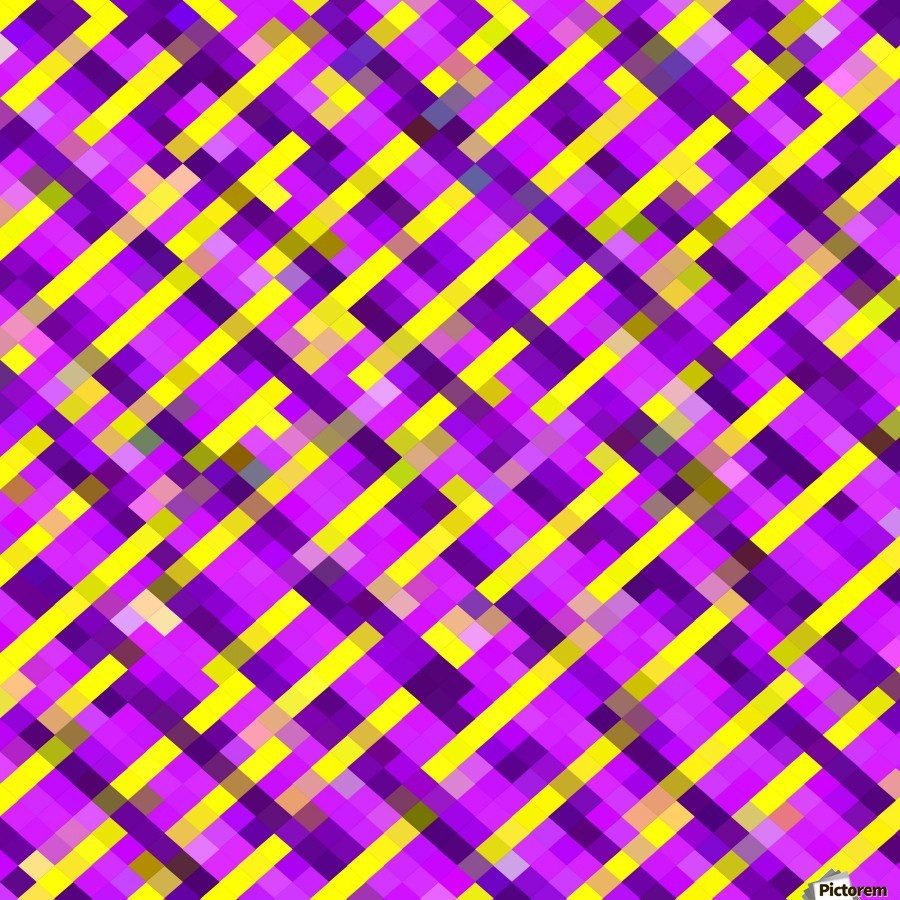 geometric pixel square pattern abstract background in pink purple yellow  Print