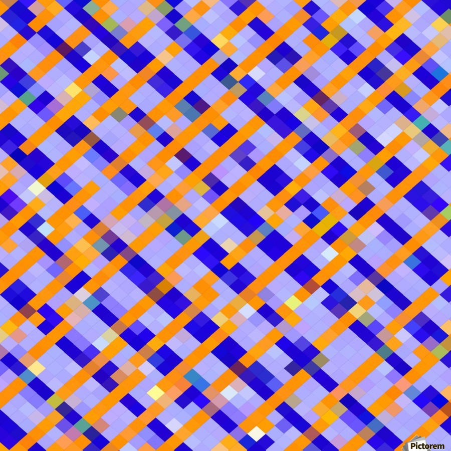 geometric pixel square pattern abstract background in orange blue purple  Print