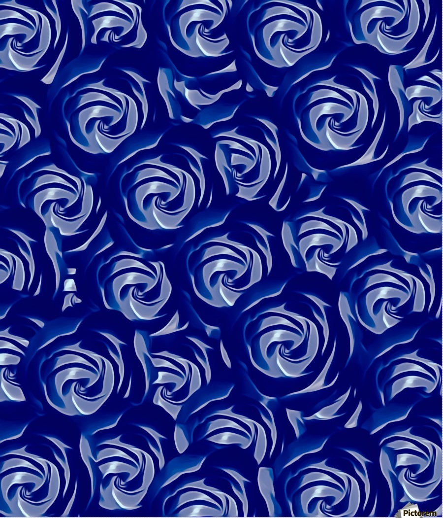 blooming blue rose pattern texture abstract background - TimmyLA Canvas