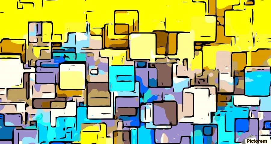 geometric graffiti square pattern abstract in yellow blue and brown  Print
