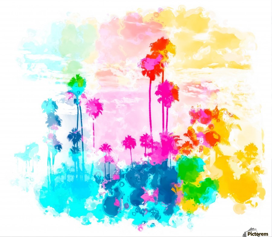palm tree wth colorful painting abstract background in pink blue ...