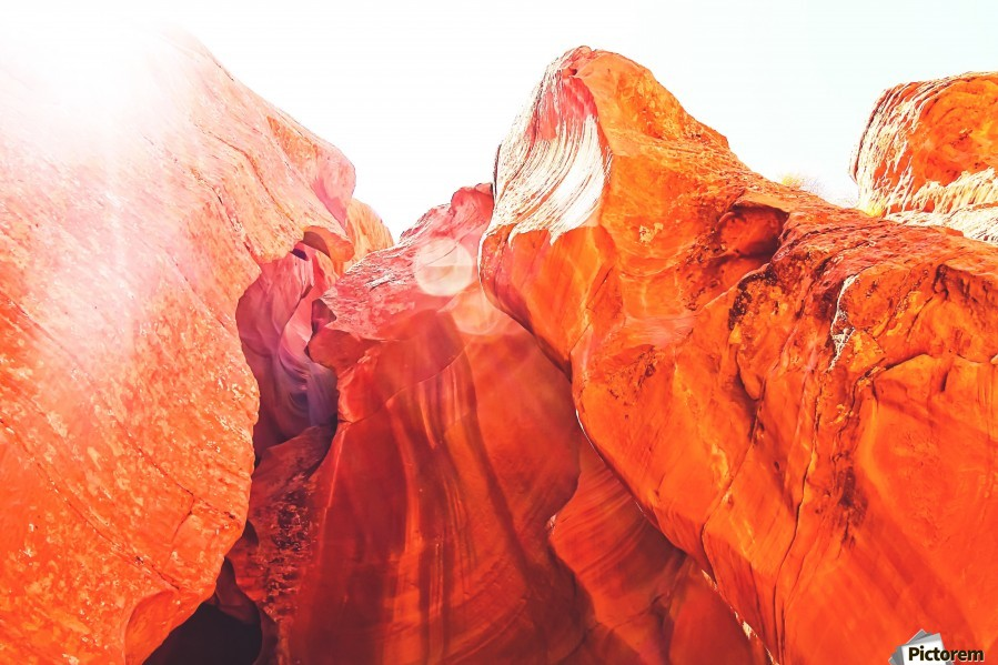 texture of the orange rock and stone at Antelope Canyon, USA  Print