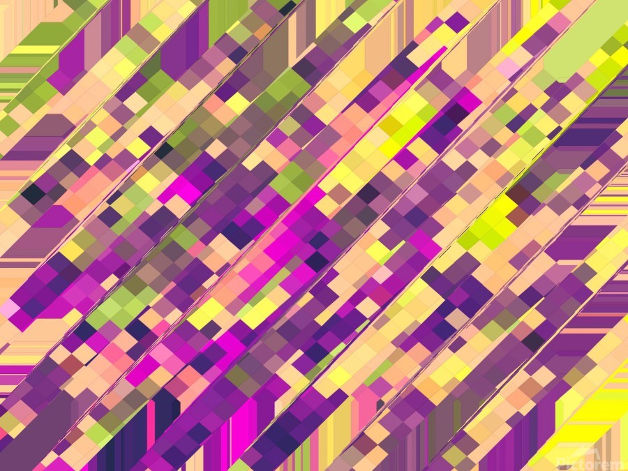 geometric square pixel pattern abstract background in pink purple green  Print
