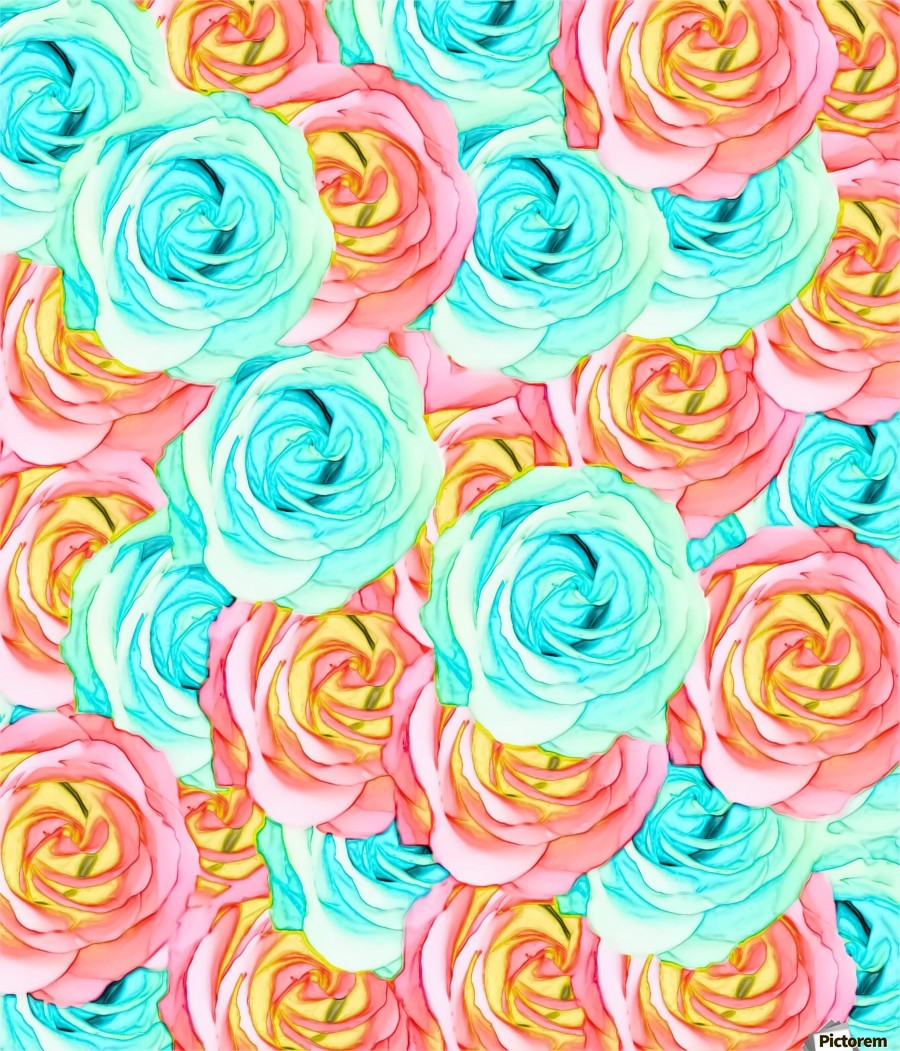 blooming rose texture pattern abstract background in red and blue  Print