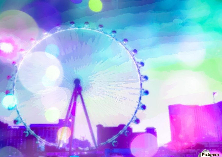 ferris wheel in the city at Las Vegas, USA with the night light bokeh  Print
