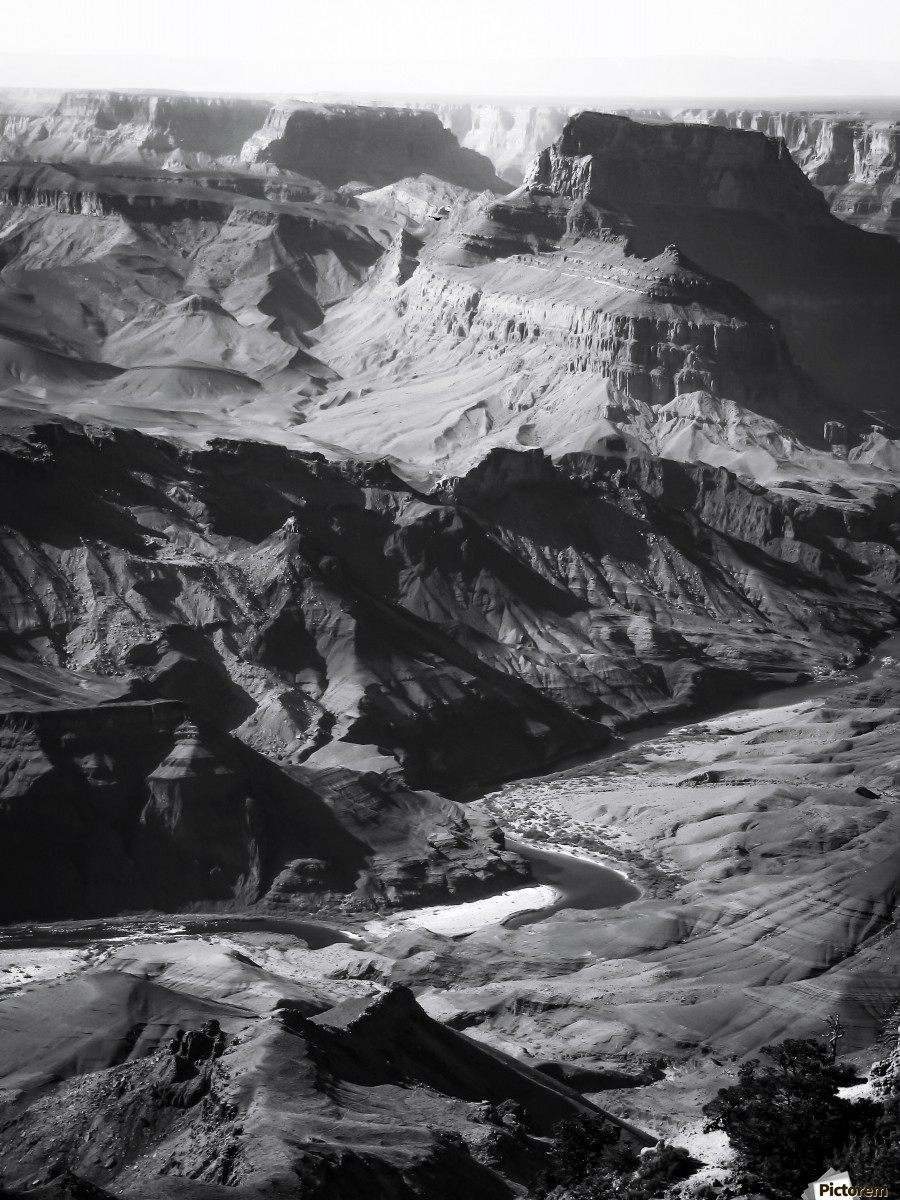 Desert at Grand Canyon national park, USA in black and white  Print