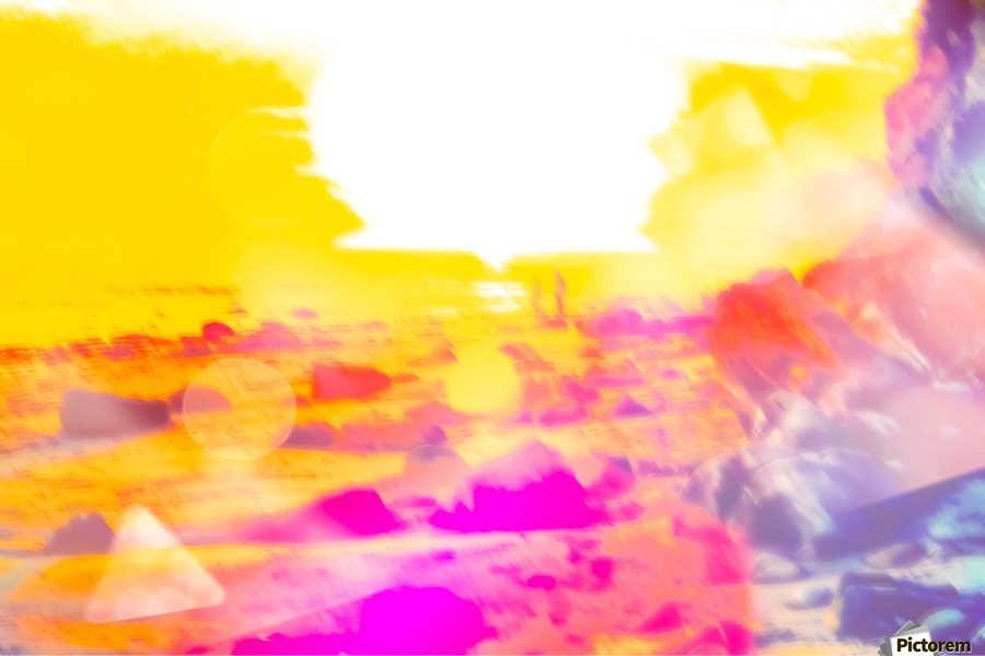 summer sunset at the beach with summer bokeh light abstract  Print