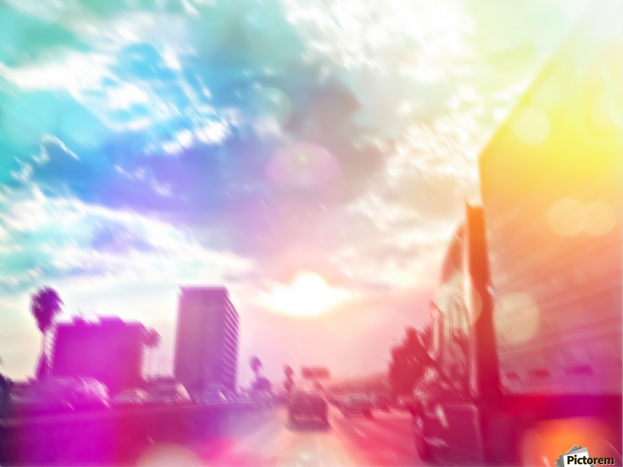 blue cloudy sky on the road with colorful bokeh light abstract  Print