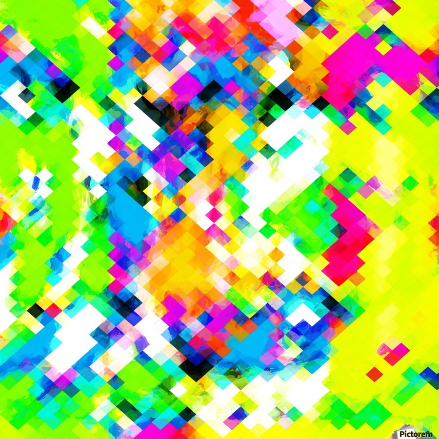 psychedelic geometric pixel abstract pattern in yellow blue green pink  Print