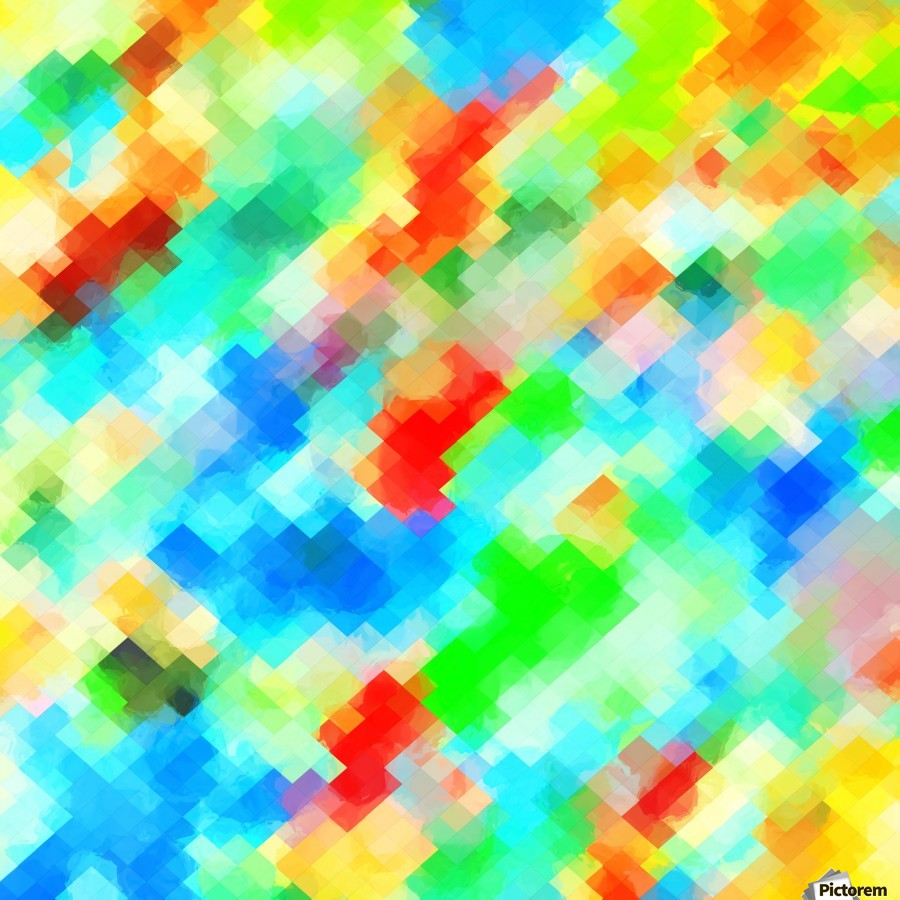 psychedelic geometric pixel abstract pattern in blue green red orange  Print
