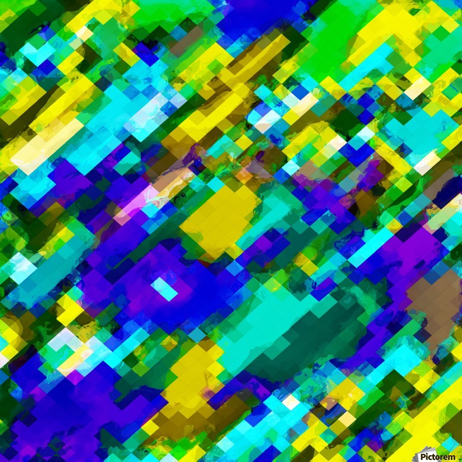 psychedelic geometric square pixel pattern abstract in green yellow blue purple  Print
