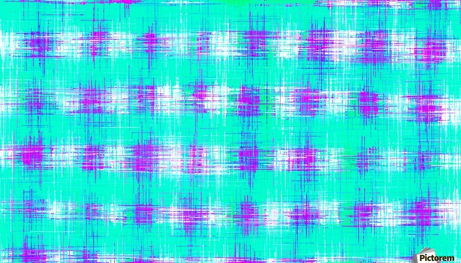 plaid pattern graffiti painting abstract in blue green and pink  Print
