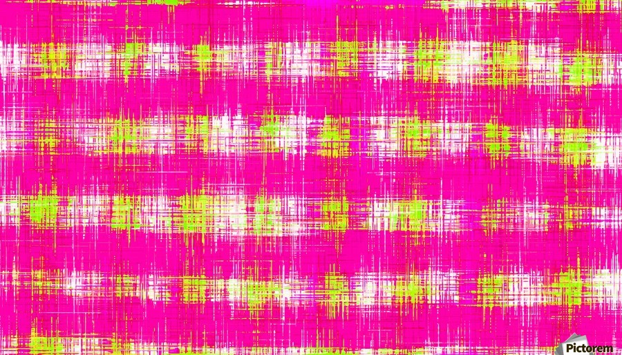 plaid pattern graffiti painting abstract in pink and yellow  Print