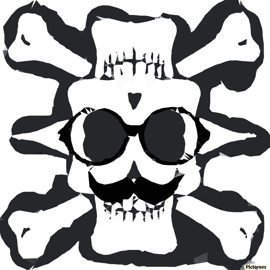 old funny skull and bone art portrait in black and white  Print