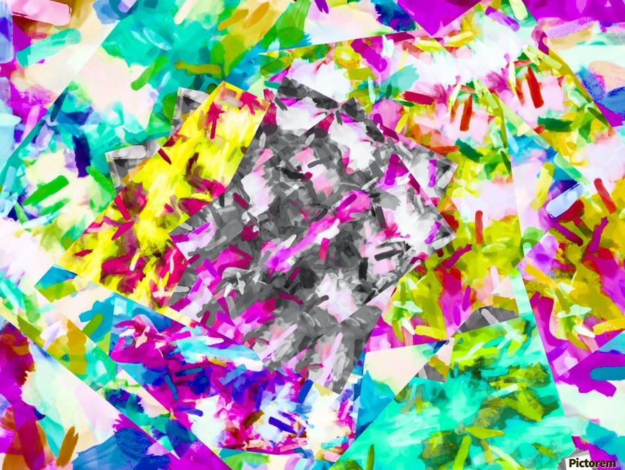 psychedelic splash painting abstract in pink blue yellow green purple  Print