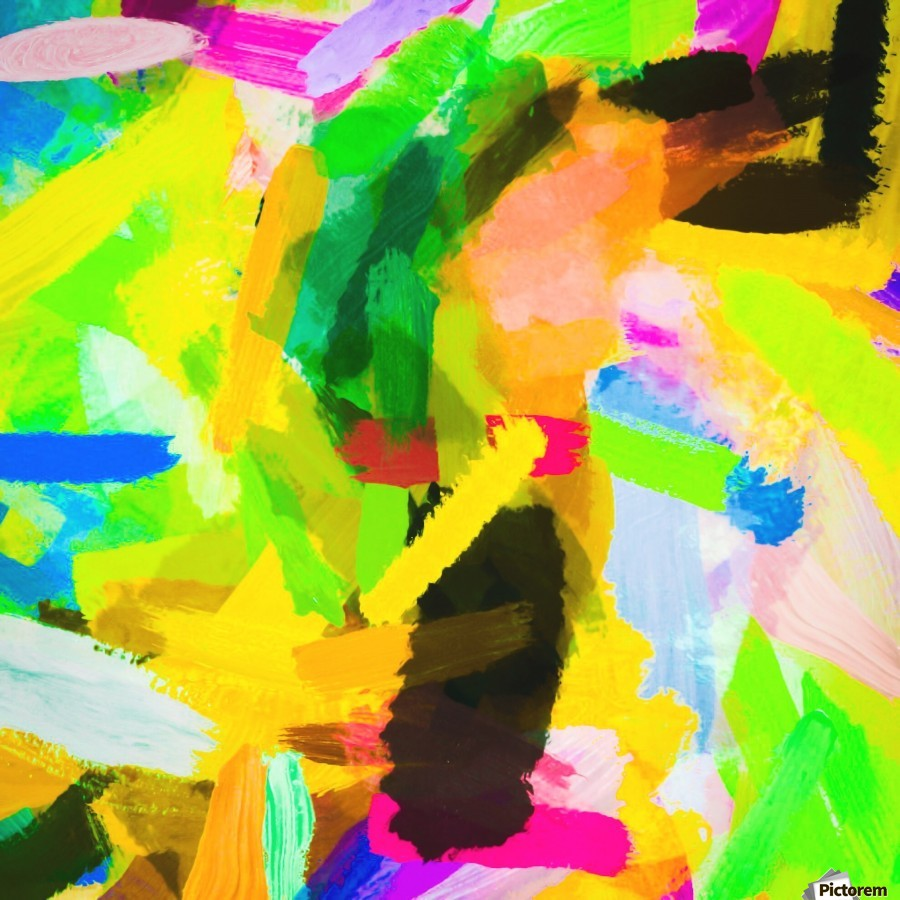 psychedelic splash painting texture abstract in green yellow pink blue  Print