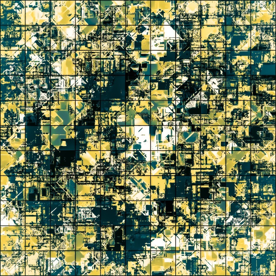 psychedelic geometric square pattern abstract background in green and yellow  Print