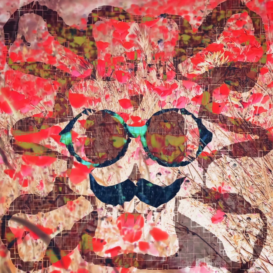 Vintage Old Skull Portrait With Red Poppy Flower Field Abstract