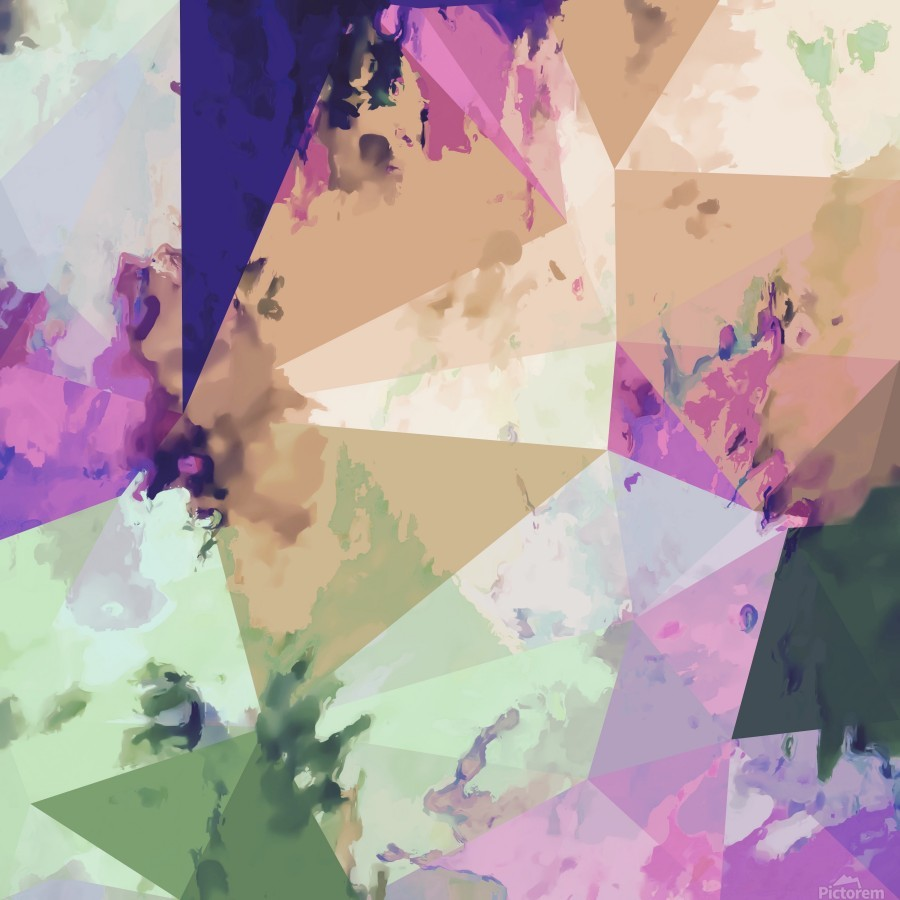 psychedelic geometric triangle polygon pattern abstract in pink green brown blue  Print