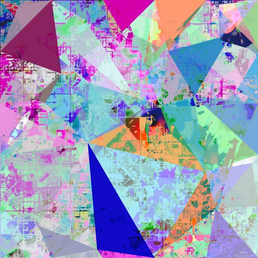 vintage psychedelic triangle polygon pattern abstract in blue pink green yellow  Print