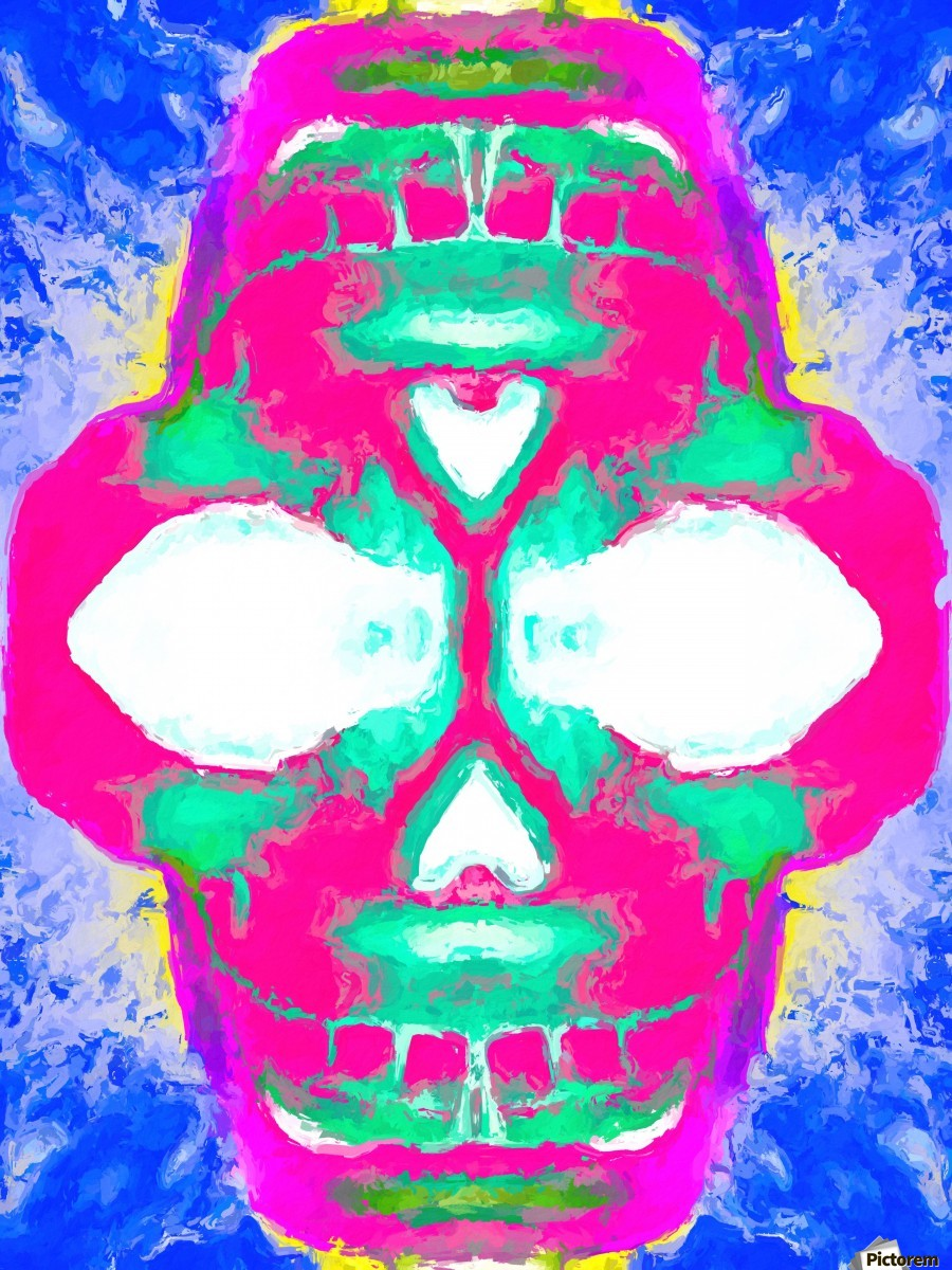 painting pink smiling skull head with blue and yellow background  Print