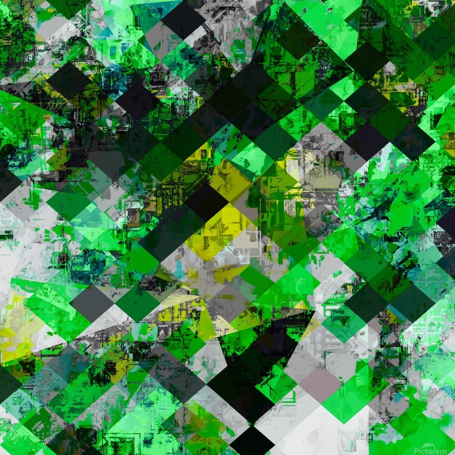 vintage psychedelic geometric square pixel pattern abstract in green and yellow  Print